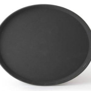 Oval Fiberglass Anti-Slip Tray, Black