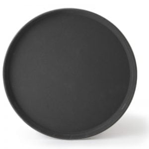 "Round Fiberglass Anti-Slip Tray, 11"" Black"