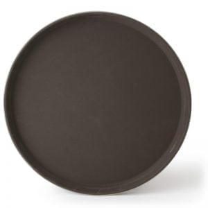 "Round Fiberglass Anti-Slip Tray, 14"" Brown"