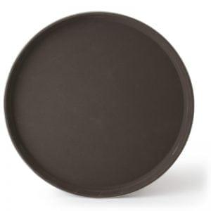 """Round Fiberglass Anti-Slip Tray, 16"""" Brown"""