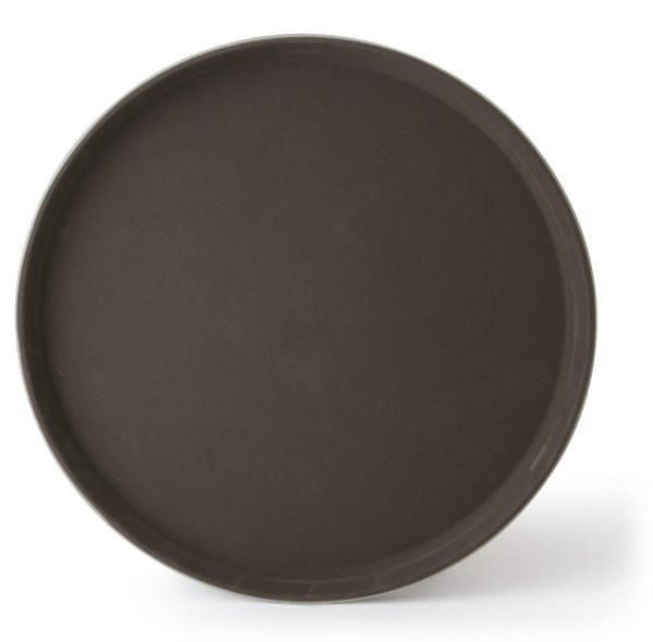 "Round Fiberglass Anti-Slip Tray, 16"" Brown"