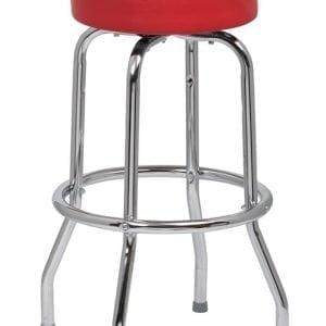 Red Standard Seat Bar Stool, Single Ring Chrome Frame, 4 KD