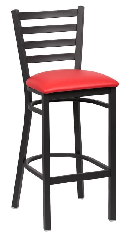 Ladder Back Metal Bar Stool Red Seat Global Restaurant